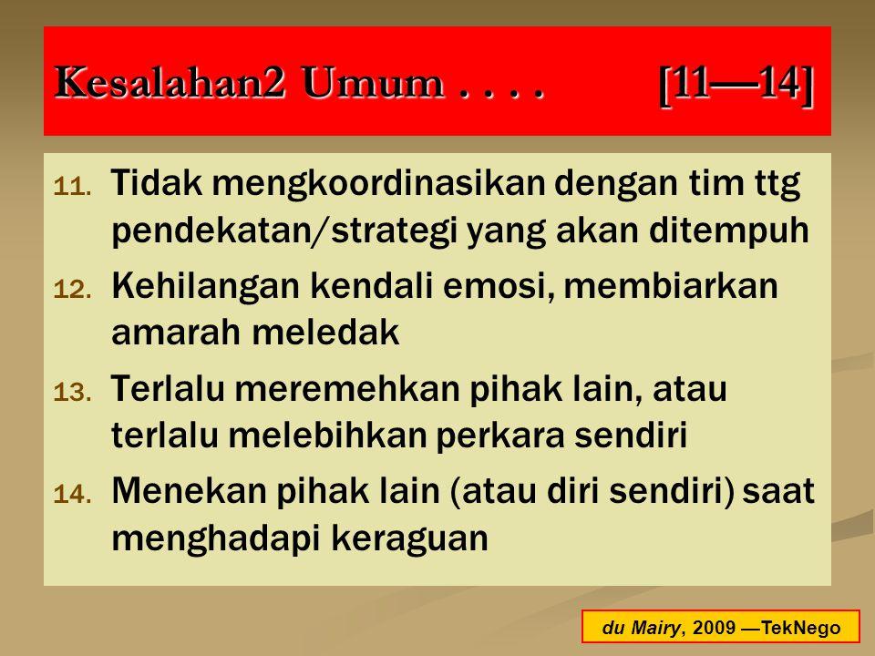 Kesalahan2 Umum . . . . [11—14] Tidak mengkoordinasikan dengan tim ttg pendekatan/strategi yang akan ditempuh.